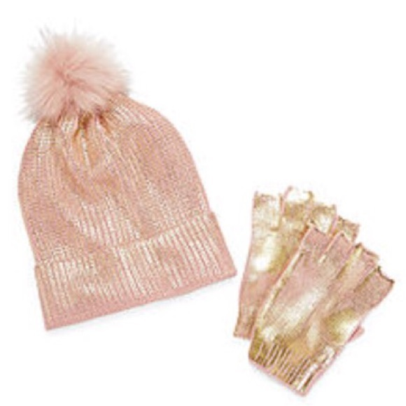 6c4b18d41 Women's rose gold metallic hat & glove set Boutique